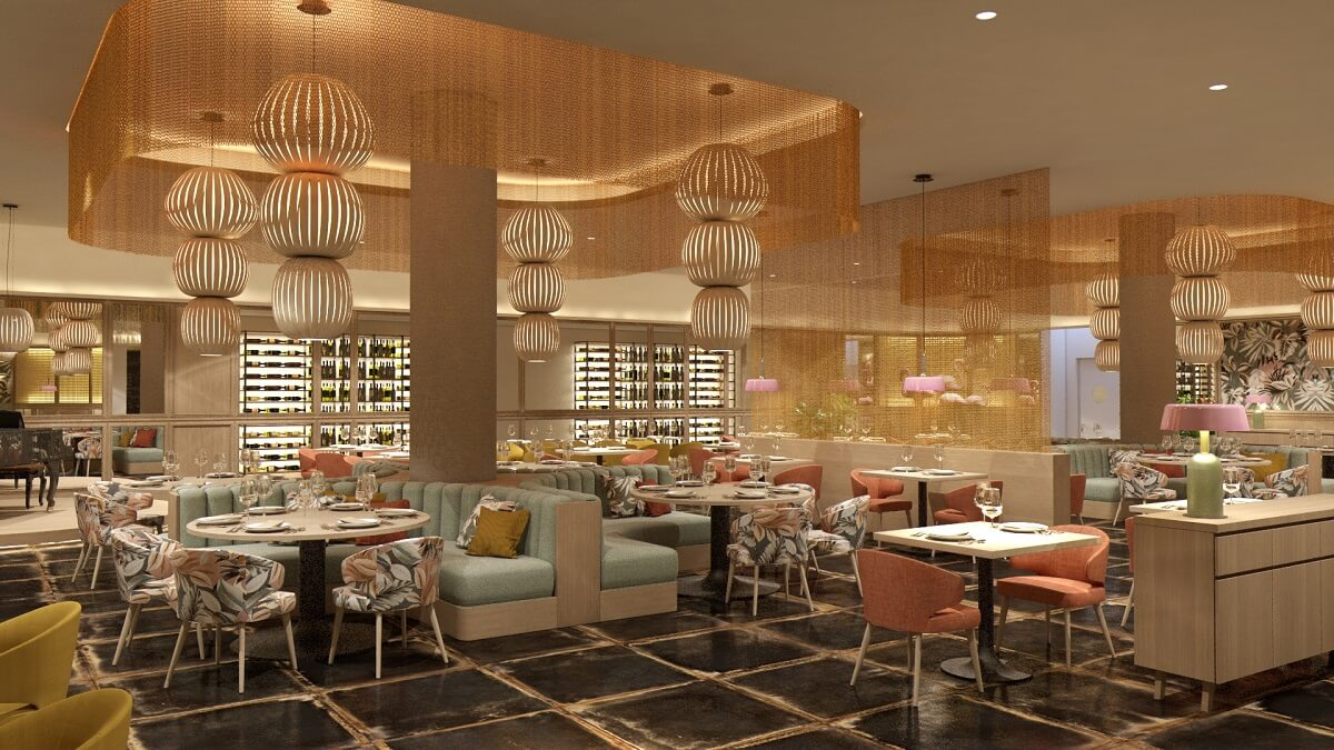 render of the bistro restaurant majestic elegance playa mujeres