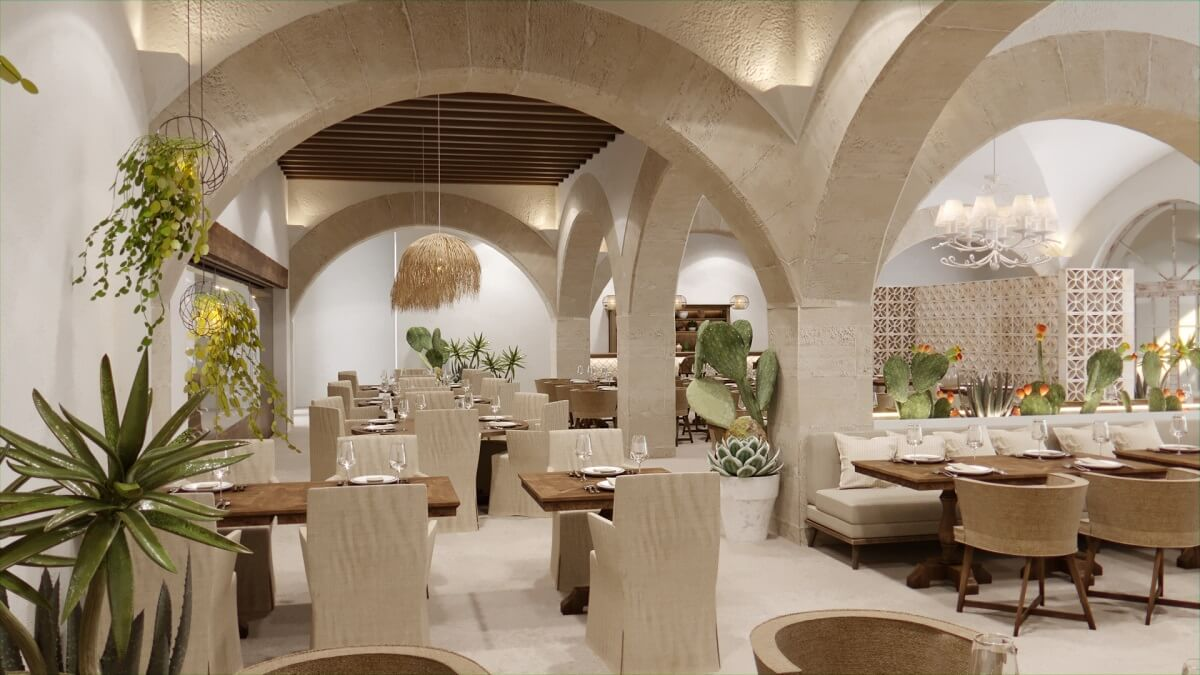 render of italian restaurant, majestic elegance playa mujeres