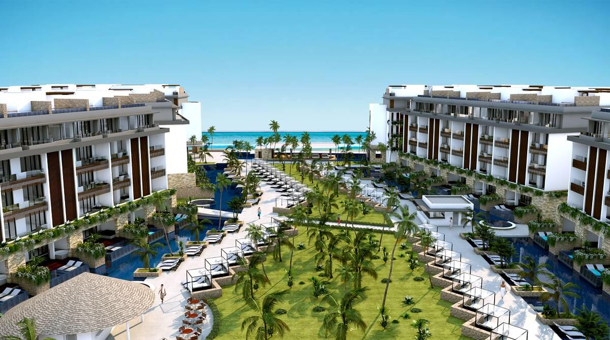 render of the courtyard area between two buildings at majestic elegance playa mujeres