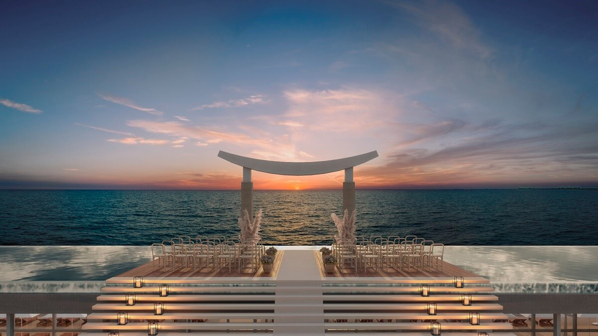 render of the rooftop wedding gazebo majestic elegance playa mujeres