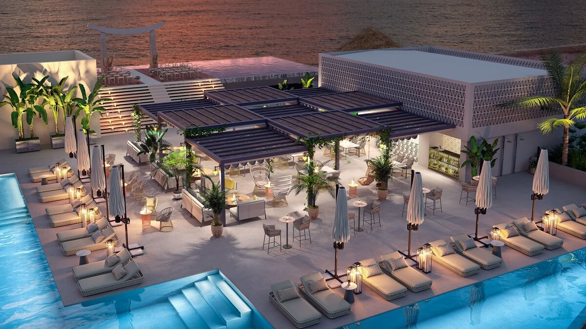 render of the sky lounge area for rooftop weddings at majestic elegance playa mujeres