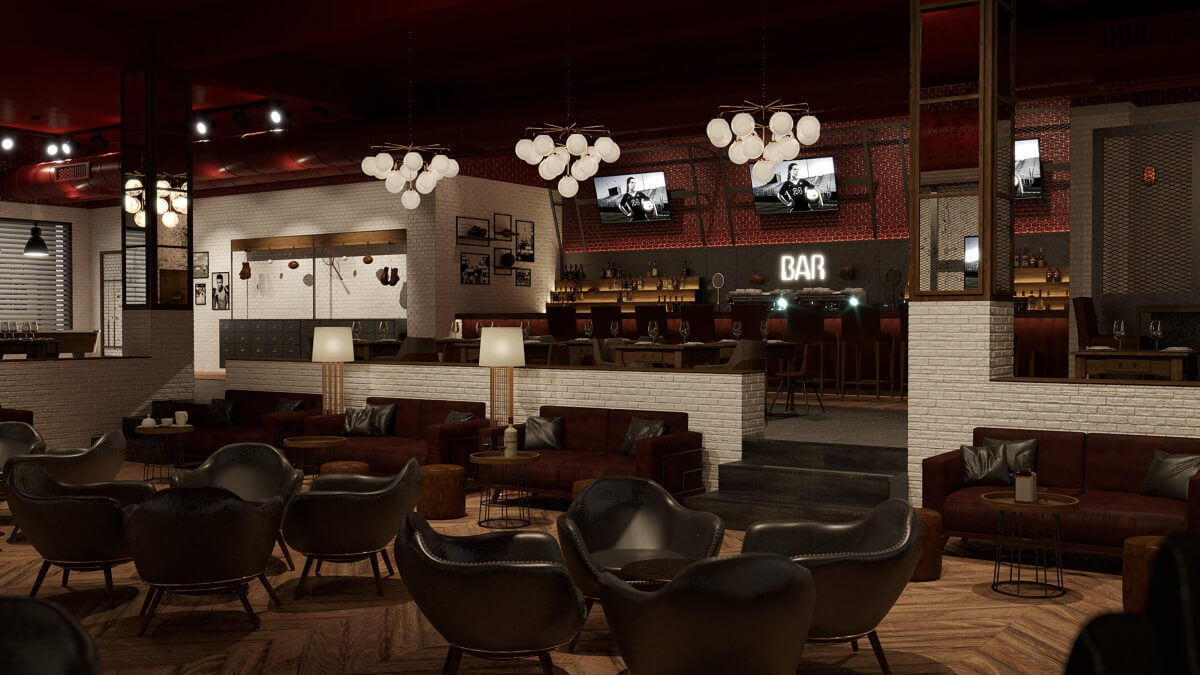 render of the sports bar majestic elegance playa mujeres