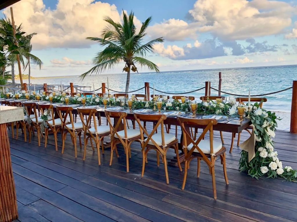 ocean view wedding reception at Akumal Bay Beach hotel