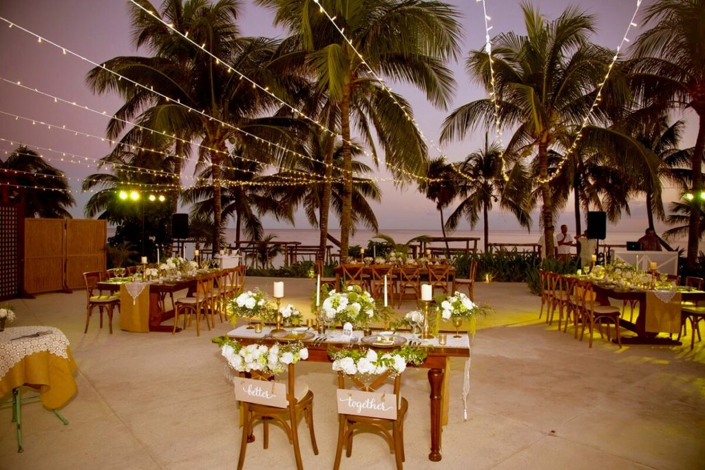 Akumal Bay Beach Wedding, Pool Deck Reception Venue set up