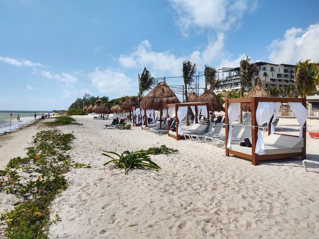 beach area with bali beds at now natura riviera cancun