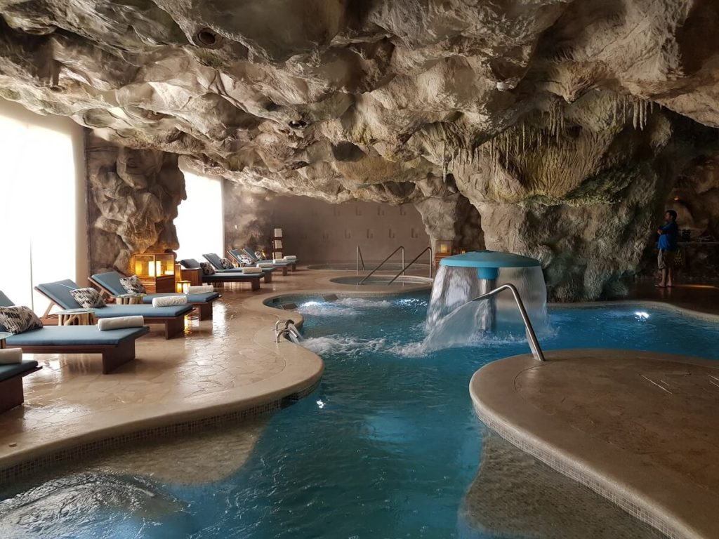 hydrotherapy in a cave at the now natura spa
