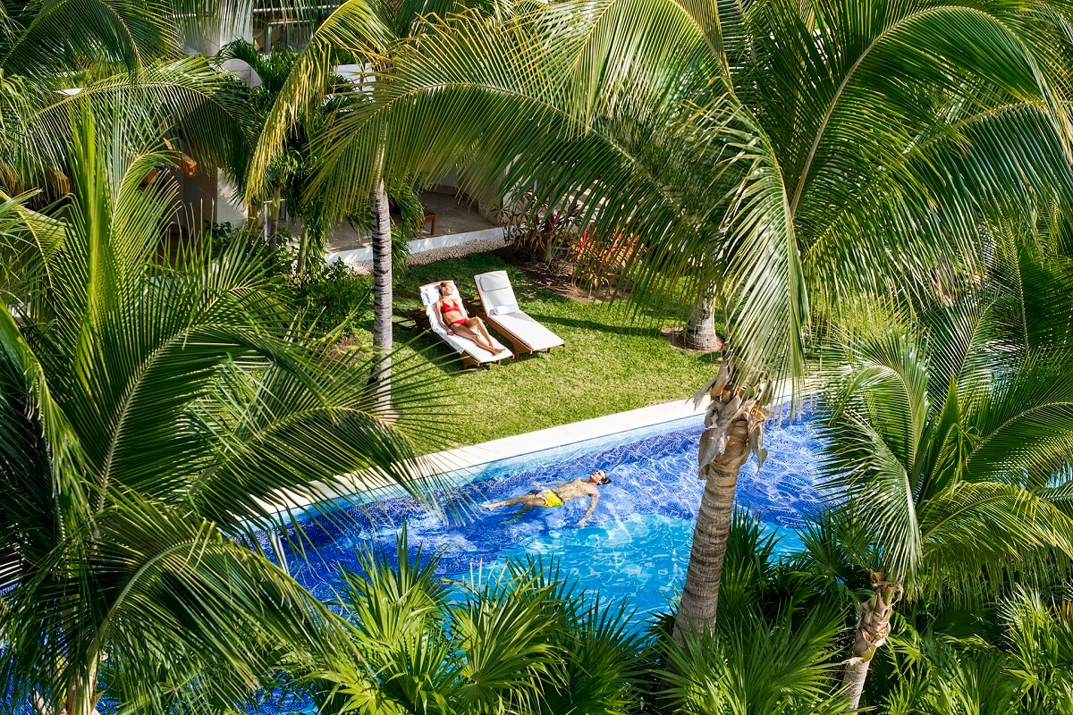 swim up pool area with palm trees