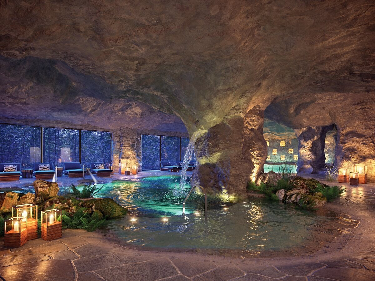 hydrotherapy area in a cave at Now Natura spa