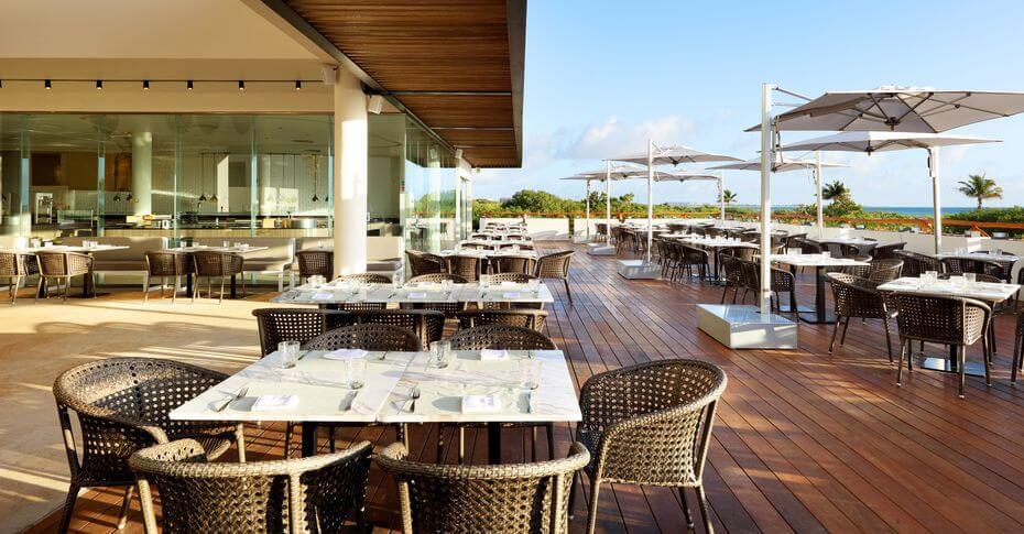 outdoor restaurant terrace area Palladium Costa Mujeres