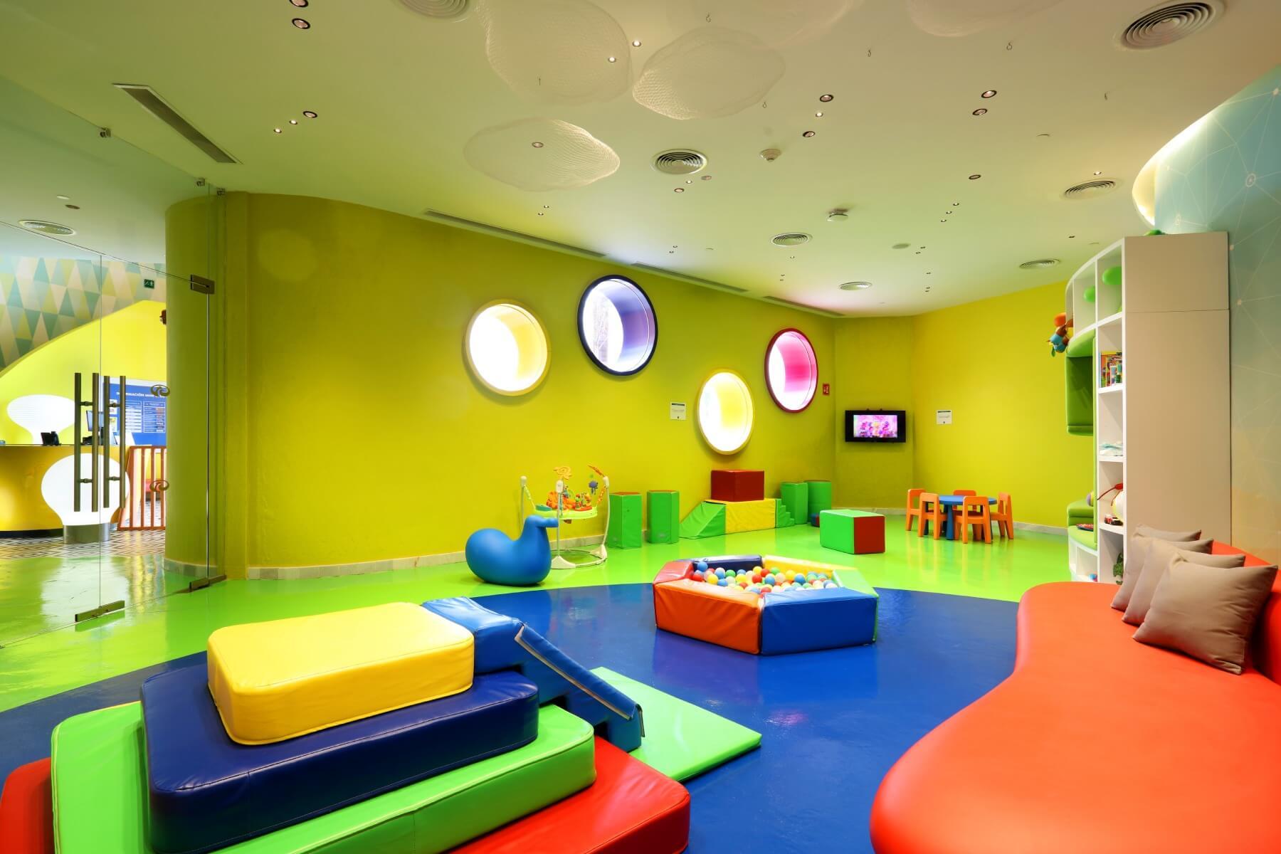 indoor area of the kids club at Palladium Costa Mujeres