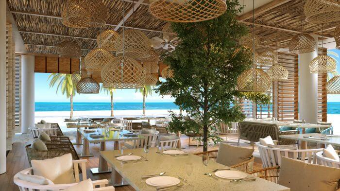 beach restaurant with ocean views at the Paradisus Playa Mujeres