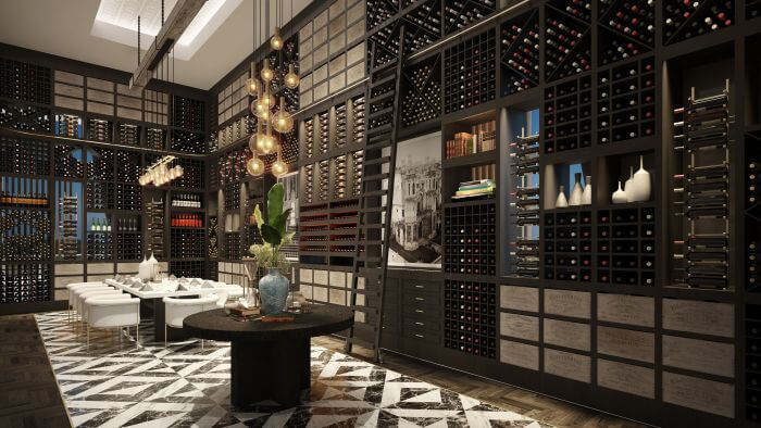 wine room at the steakhouse