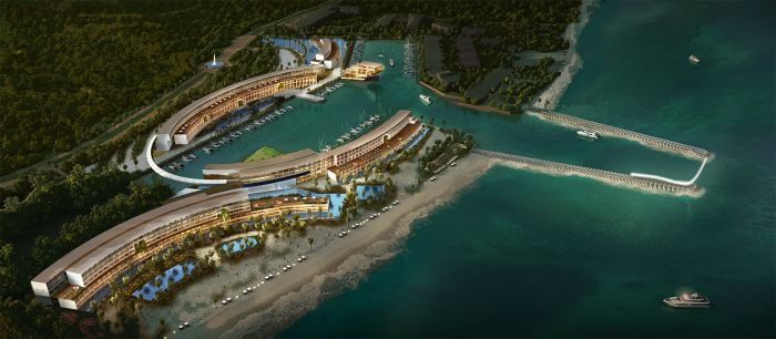 aerial of the Paradisus Playa Mujeres and Marina