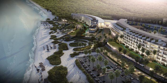 aerial view of beach and buildings at the Paradisus Playa Mujeres