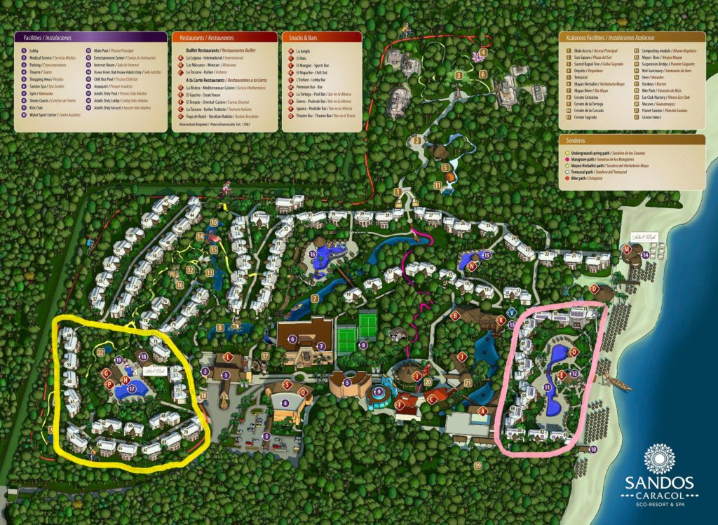 Sandos Caracol resort map with room areas