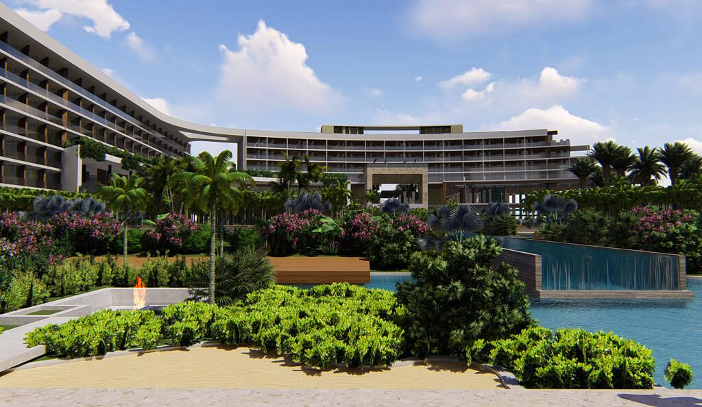 Secrets Playa del Carmen infinity pool render