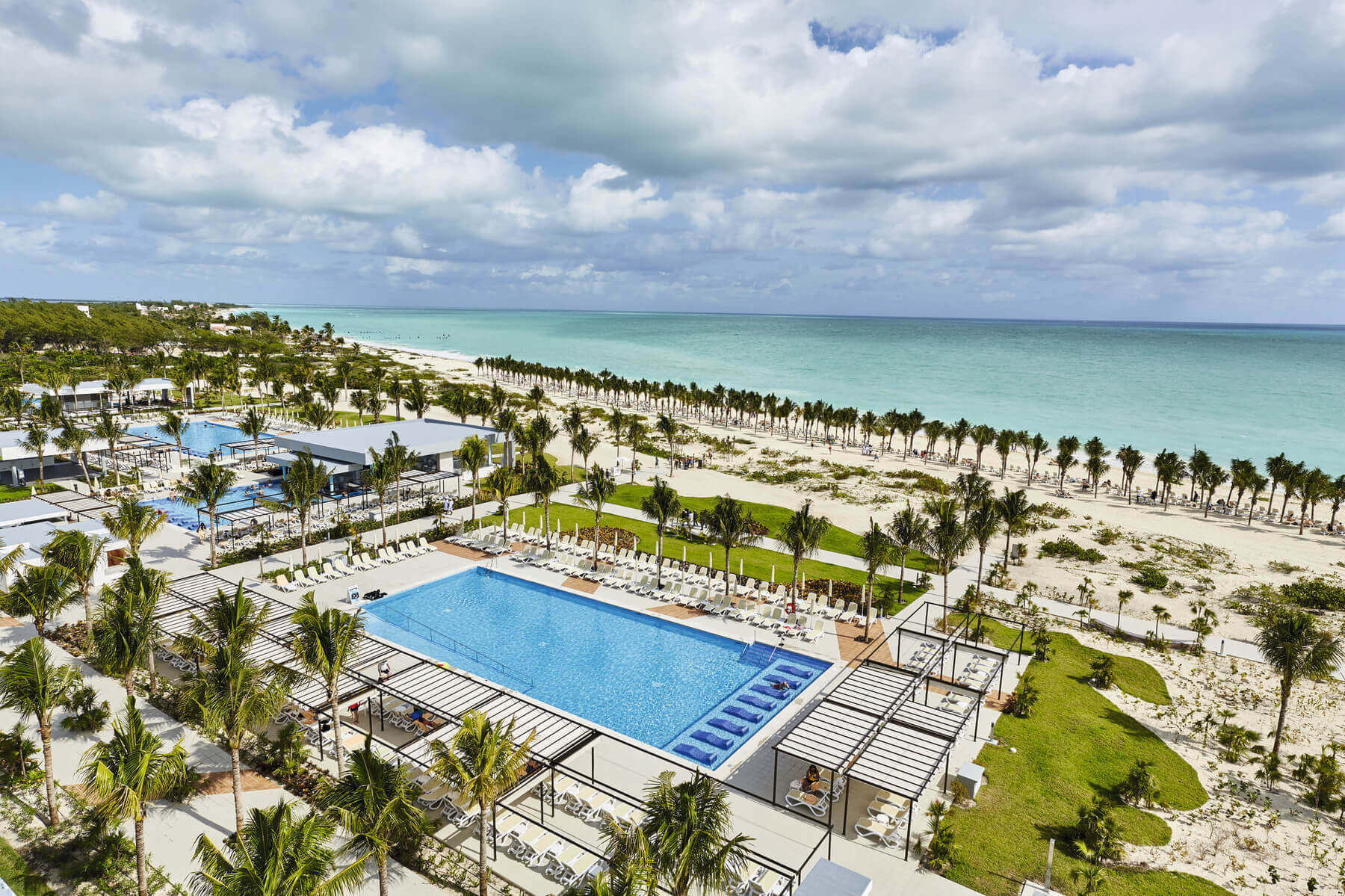 aerial view of the grounds and pool at riu dunamar