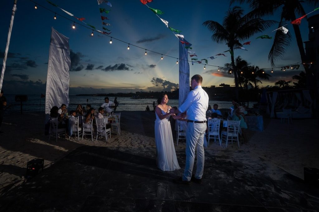 first dance at a beach wedding reception in mexico