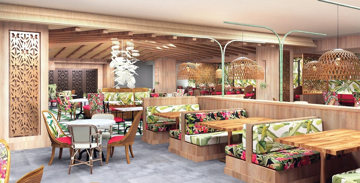 buffet restaurant with tropical theme now natura render
