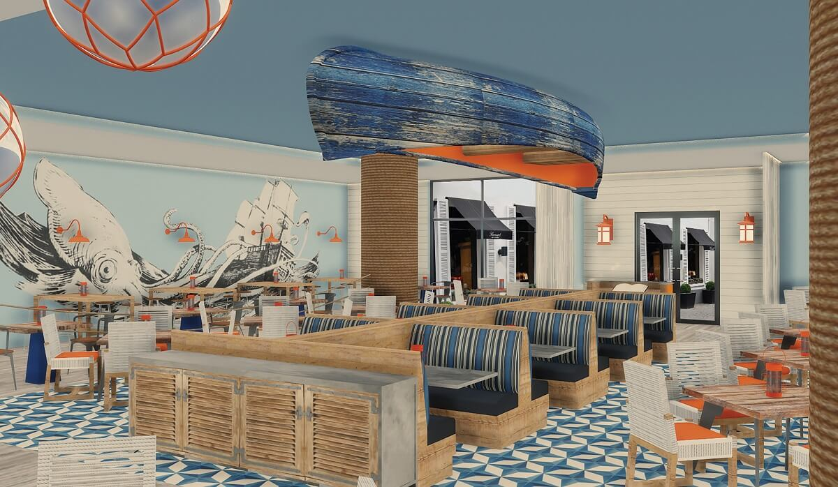 castaway restaurant with a nautical theme, now natura render