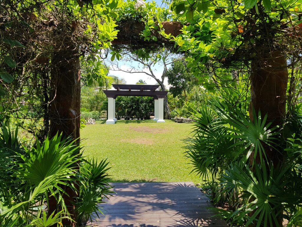 garden venue with gazebo and tropical foliage