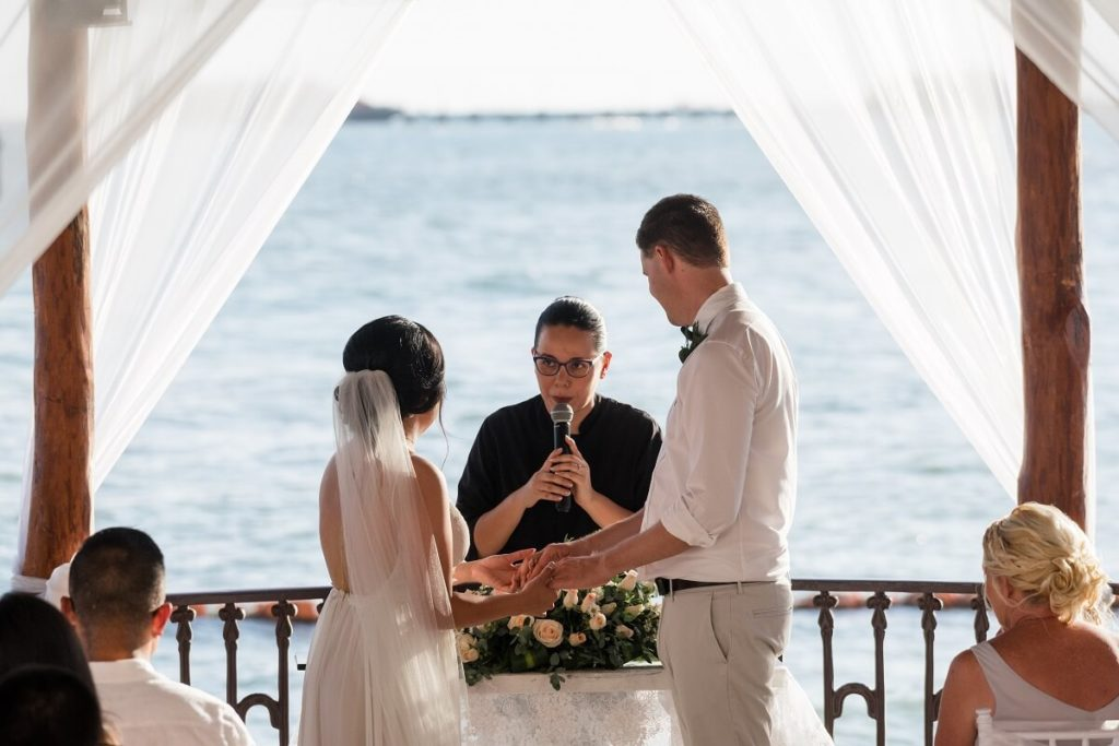 wedding couple during the ocean view ceremony