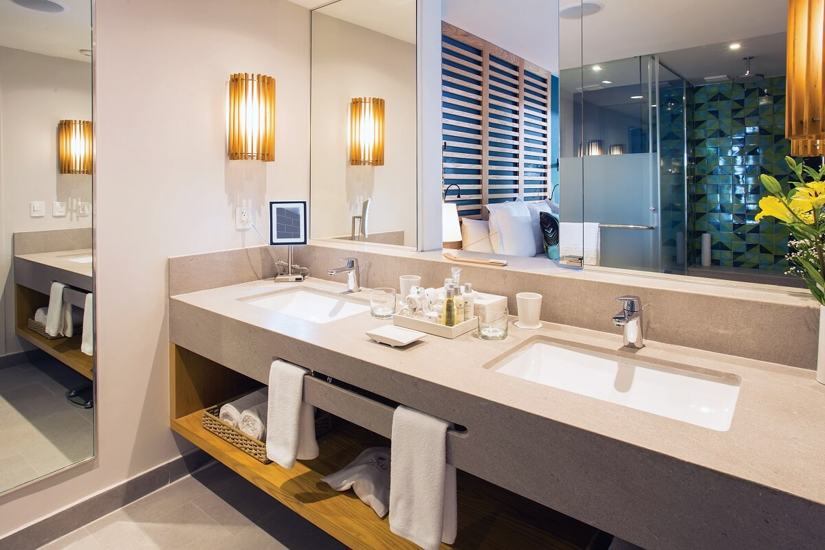 bathroom wth double vanity in preferred rooms at now natura