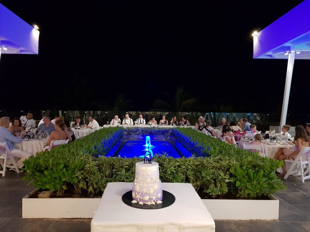 wedding reception on the rooftop terrace at sandos caracol