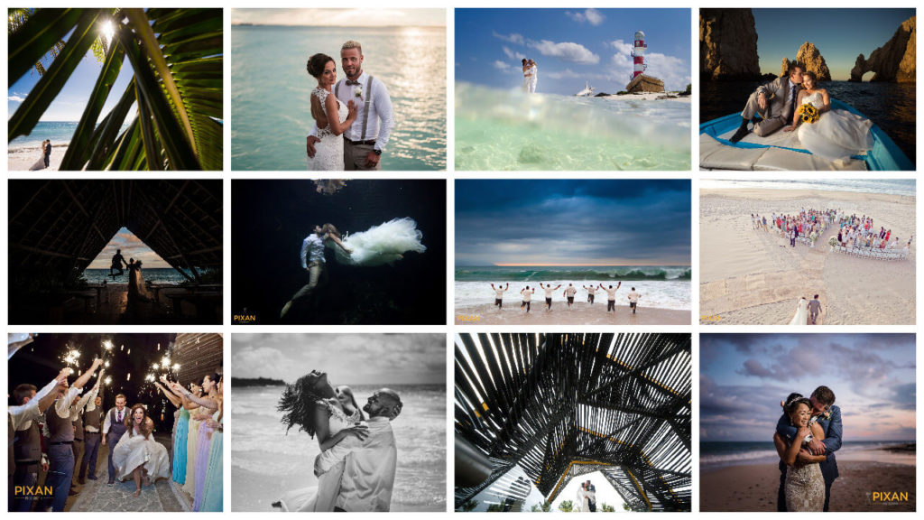 photo collage of wedding images for the pro tips from a destinaion wedding photographer interview