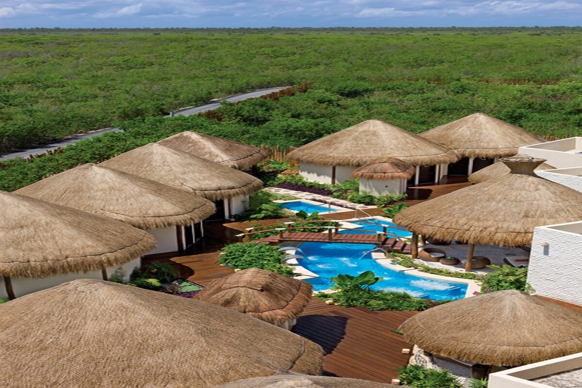 Aerial View of Spa Cabins at the dreams riviera cancun