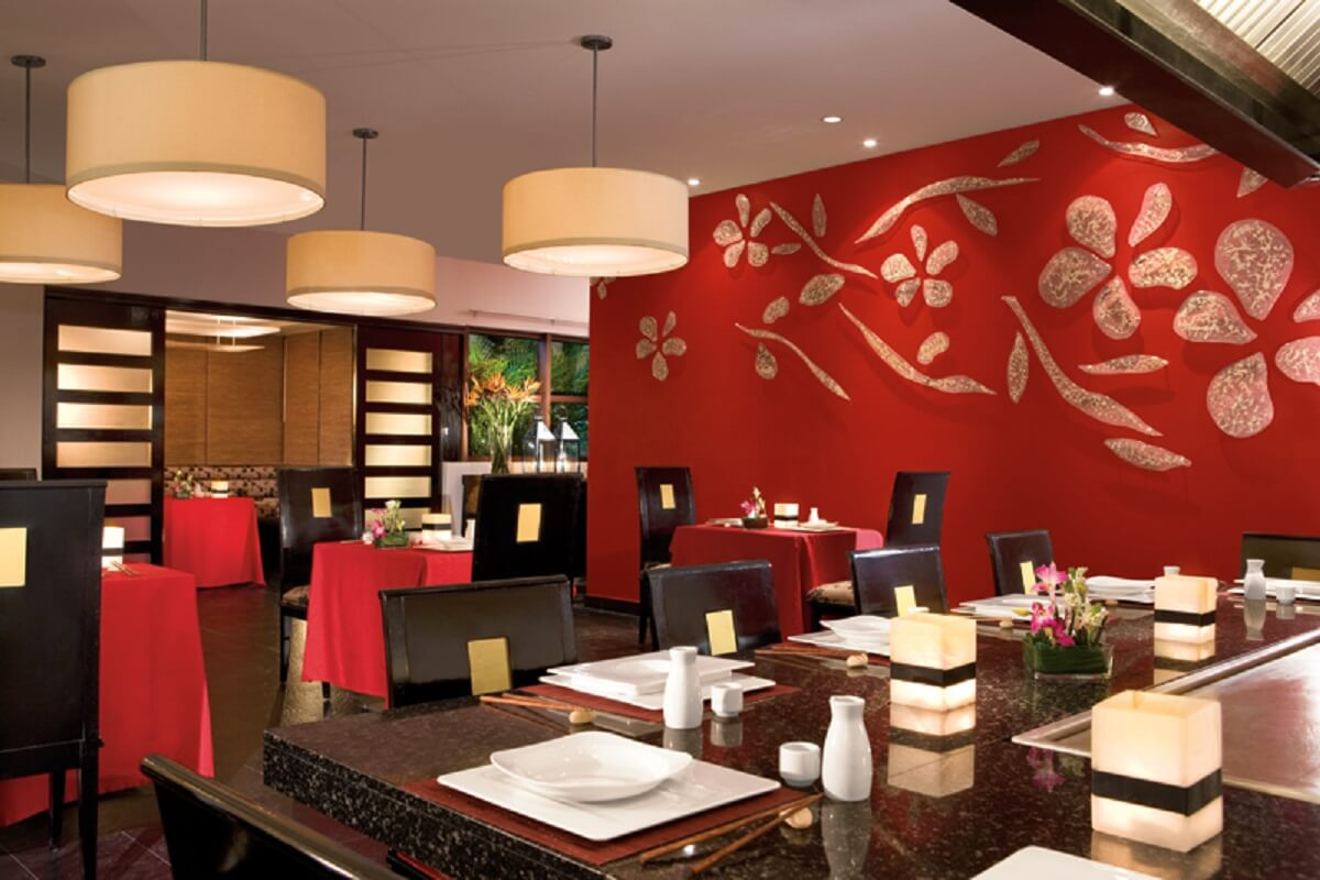 Asian Cuisine Restaurant with red color decorations