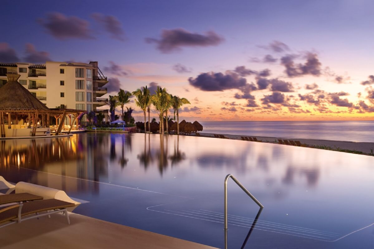 Infinity pool sunset view