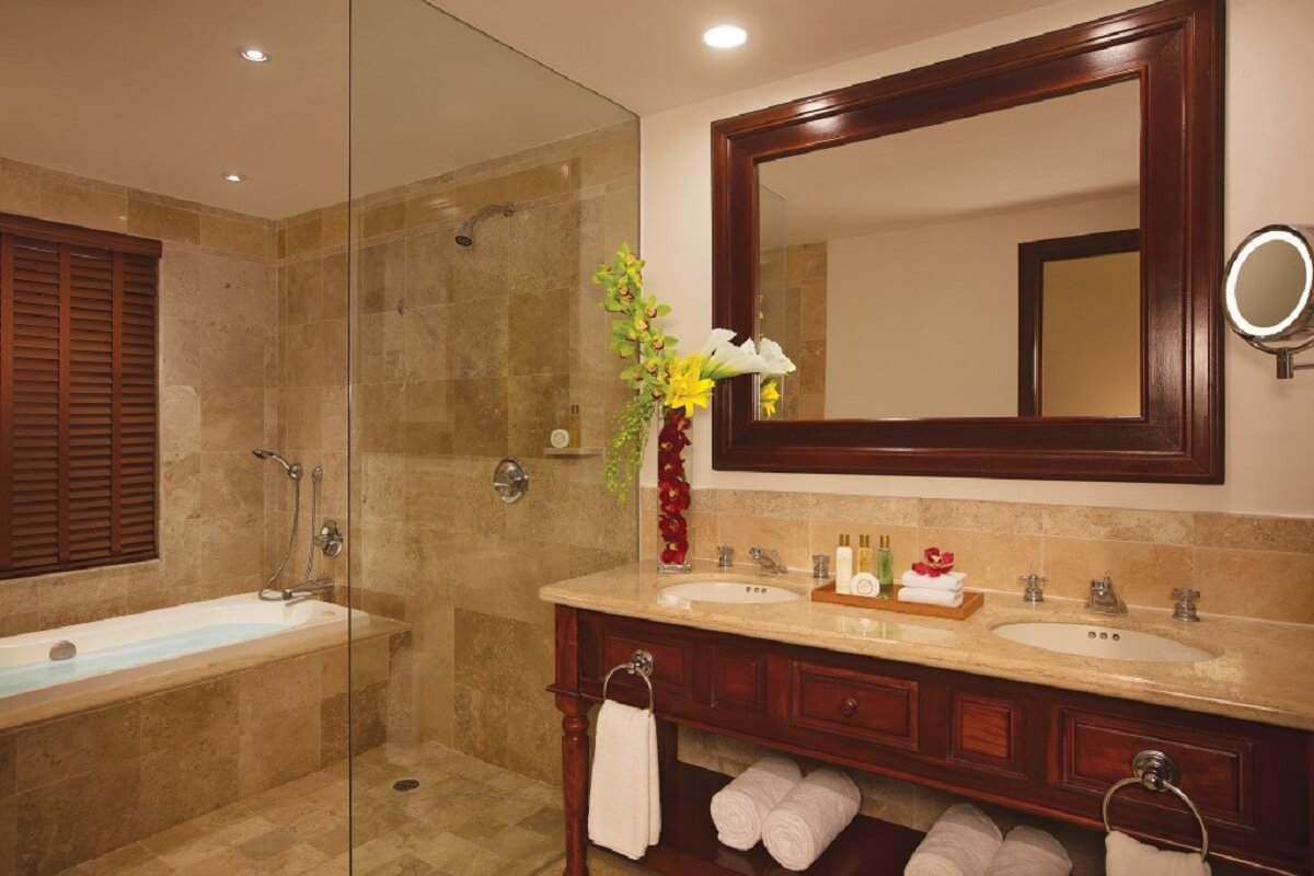 Inside the bathroom at dreams tulum