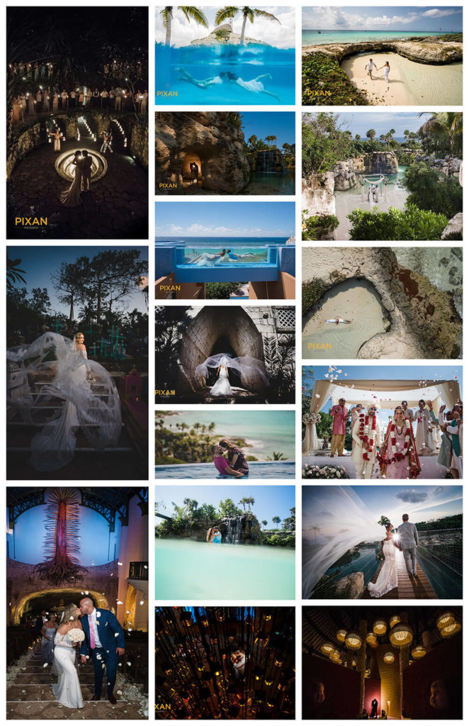 collage of wedding photos hotel xcaret