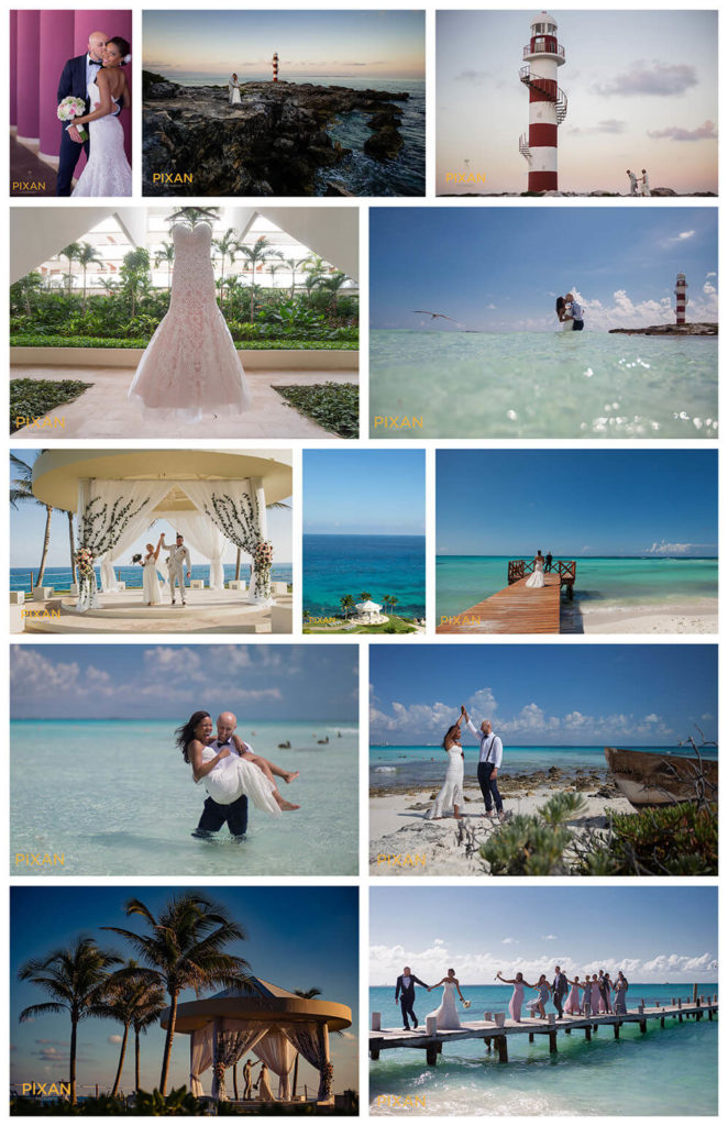 collage of wedding photos hyatt ziva cancun