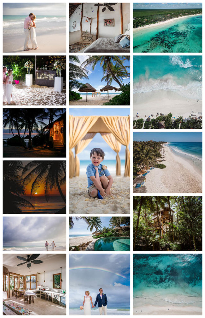 collage of images from mayahana beach homes in tulum