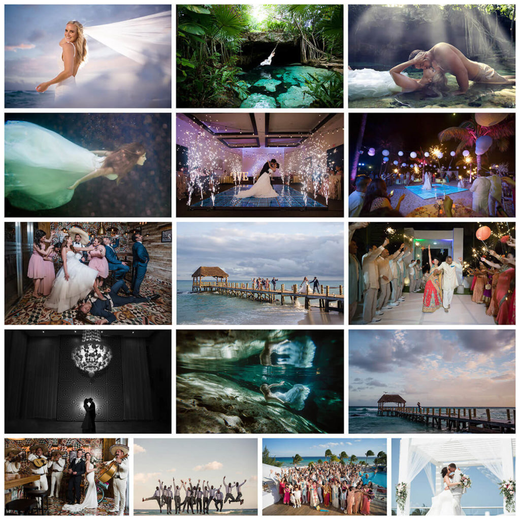 collage of images for wedding photos at the fives beach playa del carmen