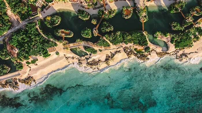 aerial view of the beach and vegetation hotel xcaretat hotel xcaret