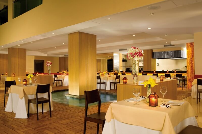 restaurant interior in hues of yellow
