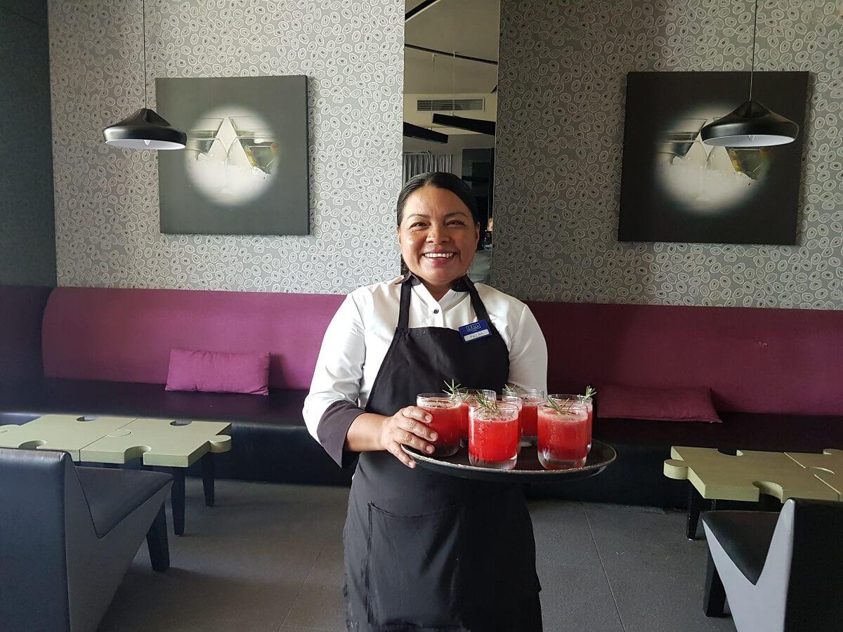 friendly waitress at the gin bar the fives beach hotel playa del carmen