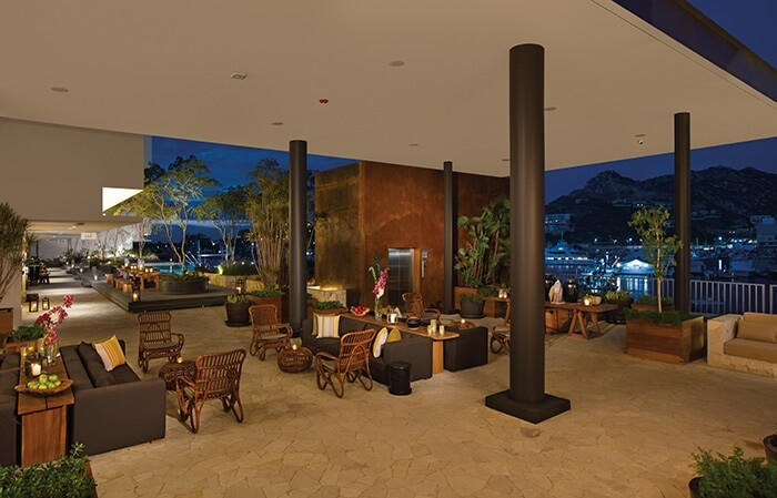 lobby area at night at breathless cabo san lucas