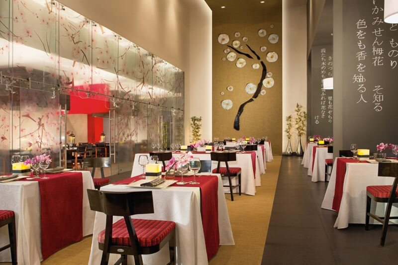 asian restaurant interior with red and grey decor