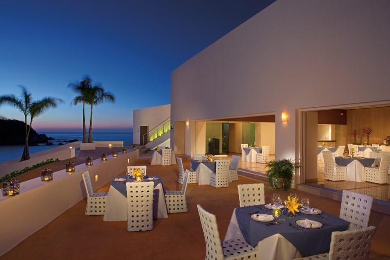 open air restaurant deck with ocean view