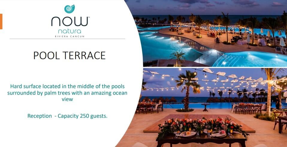 a pool terrace by night at the now natura, a venue used for weddings