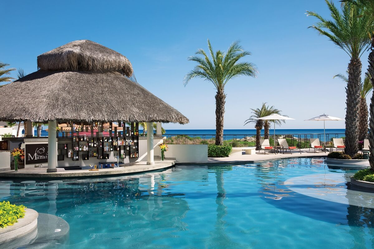 swim up bar with ocean view Secrets Los Cabos manatees bar