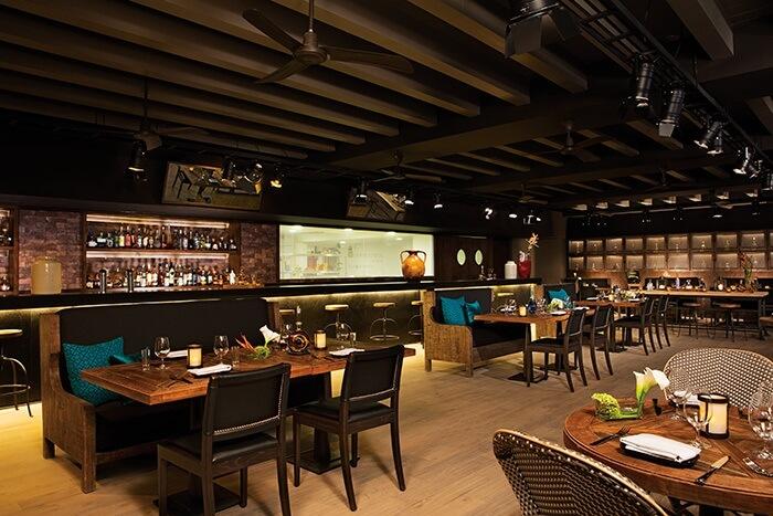 indoor bar with wooden furniture