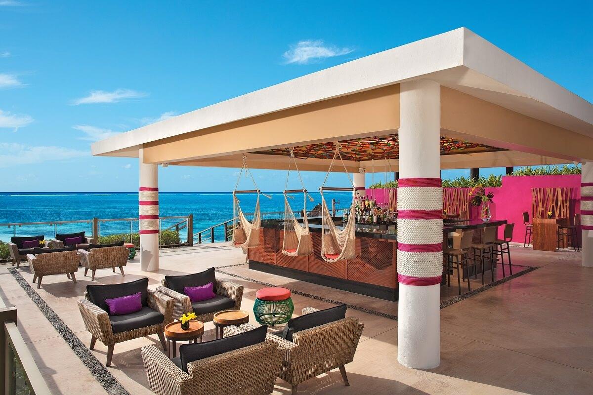 ocean view bar with swings
