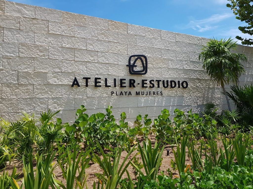 main entrance signage for atelier and estudio hotels