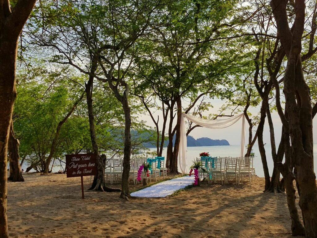 beach wedding ceremony under the trees at dreams las mareas in costa rica