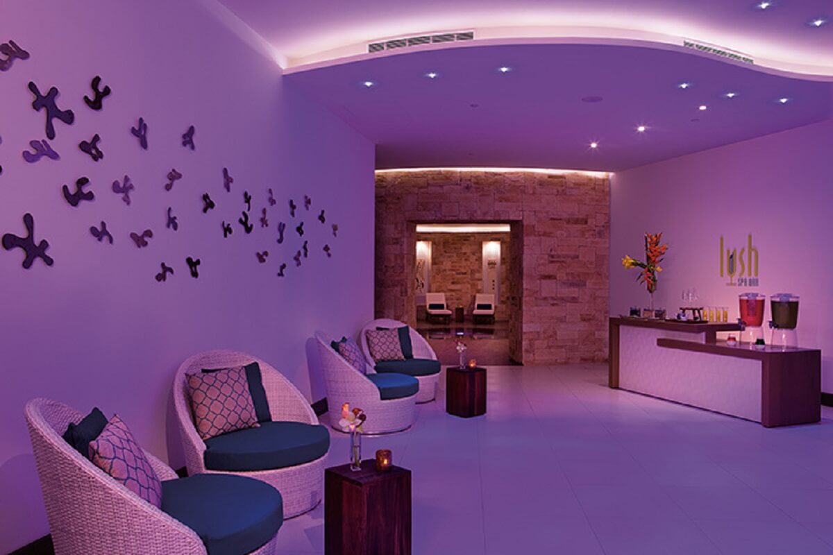 Spa with purple lighting